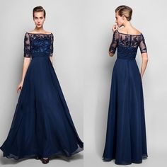 In Stock Navy Blue Evening Dresses 2015 Half Sleeve Beaded Chiffon Formal Mother of the Bride Groom Dresse Appliqued Only $89 Real Image
