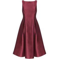 Adrianna Papell Sleeveless Tea Length Dress, Burgundy (15.500 RUB) ❤ liked on Polyvore featuring dresses, maxi dress, burgundy dress, pleated maxi dress, red skater skirt and midi dress