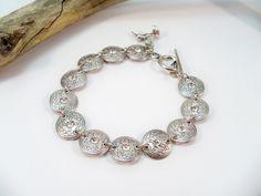 Silver and Rhinestone Bracelet, Silver Link Bracelet, Rhinestone Bracelet by babbleon on Etsy