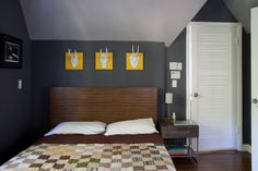 Paint colors that match this Apartment Therapy photo: SW 6048 Terra Brun, SW 6258 Tricorn Black, SW 7076 Cyberspace, SW 7670 Gray Shingle, SW 0055 Light French Gray