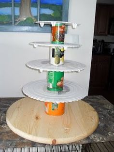 Homemade wedding cupcake stand! Holds approx. 100 cupcakes and a 6 ...