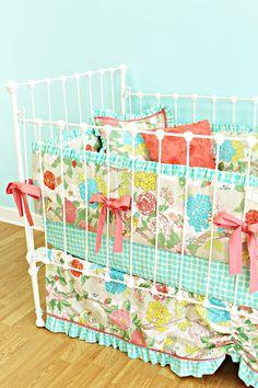Baby Girl Crib Bedding - Garden Floral Design