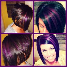 Purple highlights and blonde peek a boos Hair by Vicky 39 Luxurious Short Hair Purple Highlights Short Purple Hair, Hair Color Purple, Cool Hair Color, Pink Hair, Short Hair Cuts, Short Hair Styles, Hair Colors, Violet Hair, Burgundy Hair