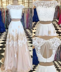 White two pieces lace long prom dress, white lace evening dress