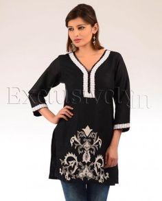 #Exclusivelyin, #IndianEthnicWear, #IndianWear, #Fashion, Black & White Tunic