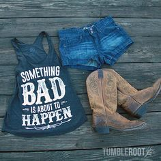 Super cute Something Bad country girl tank top with daisy dukes and cowboy boots! Perfect Stagecoach, Country Thunder, and country music festival outfit! // tumbleroot.com