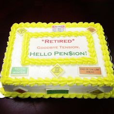Roadmap to Retirement cake. Edible images placed on fondant then placed on a vanilla sheet cake iced in vanilla buttercream by Peace of Cake ~Catoosa OK Retirement Cake Sayings, Retirement Party Cakes, Military Retirement Parties, Retirement Celebration, Retirement Party Decorations, Teacher Retirement, Retirement Ideas, Retirement Gifts, Vanilla Sheet Cakes