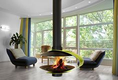 Hanging fireplace – design solutions for modern heating systems - Decoration 2 Suspended Fireplace, Hanging Fireplace, Freestanding Fireplace, Open Fireplace, Fireplace Design, Fireplace Ideas, Wood Cladding, Interior Exterior, My Living Room