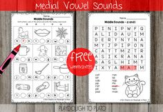 Playdough To Plato - Free Worksheets Medial Vowel Sounds