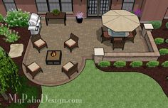 Back patio sq. of colorful pavers and tumbled patio block together create this Dreamy Paver Patio Design with Seat Wall. 2 Areas for large patio table and fire pit. Backyard Patio Designs, Backyard Projects, Backyard Landscaping, Back Yard Patio Ideas, Backyard Ideas, Pergola Ideas, Patio Ideas For Dogs, Sloped Backyard, Modern Backyard