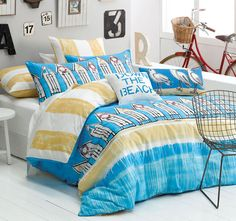 Bedroom Designs, Cool Beach Bedroom Themes That Give New Fresh Nuance Of A Room : Beach Kids Bedding Sets Theme, Beach Bedroom Themes, Beach Themes Beach Theme Bedding, Rental Home Decor, Bedroom Design Inspiration, Design Ideas, Kids Bedroom Designs, Kids Bedding Sets, Comforter Sets, Stylish Beds, Gold Bedroom