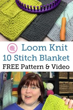 The post Loom Knit Ten Stitch Blanket 2019 appeared first on Knit Diy. Loom Knit Ten Stitch Blanket 2019 New & Improved Easy Ten Stitch Blanket Pattern for Loom Knitters. Free pattern and videos for both right- and left-handed loomers. Loom Knitting Blanket, Loom Blanket, Round Loom Knitting, Loom Knitting Stitches, Loom Knit Hat, Loom Knitting Projects, Knitted Blankets, Knitting Machine, Hand Knitting