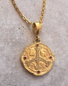 Necklace - Ancient Golden Peace Sign with Diamonds by Roman Paul #romanpaul