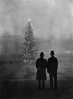 Warburton - Two policemen regard London's 64ft Christmas tree, a gift from Norway, illuminated in Trafalgar Square, in front of the National Gallery, 1948. °
