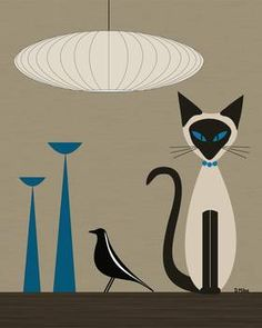 """Siamese with Eames House Bird"" by Donna Mibus: From the Mid Century Modern Cat on Tabletop Series // Buy prints, posters, canvas and framed wall art directly from thousands of independent working artists at Imagekind.com."