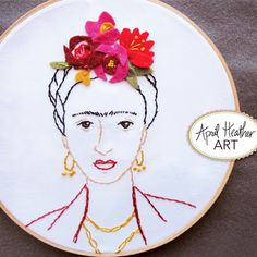Frida Kahlo Embroidery Pattern, don't like the pattern but love the flowers with the embroidery