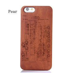 Iphone 6 Wood Case,Laser Engraved Oboe or Ebglish Horn Patent Pattern Wood Case For iphone 5/5s iphone 6 Plus,Galaxy 6,Galaxy S6 Edge 392521