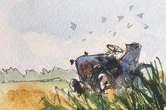 Landscape ORIGINAL Miniature Watercolour  'The Old Tractor' https://www.etsy.com/uk/listing/556184212/landscape-original-miniature-watercolour?ref=shop_home_active_1