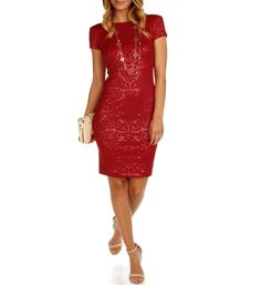 """With an embossed print, this midi dress has short sleeves, boat neck and a deep scoop back. Dress stretches and will fit fitted. Fully lined, Back zipper.*Special Occasion*Approximately 32"""" side seam*96% Polyester*4% SpandexHand wash cold. Do not bleach. Line dry. Do not iron."""