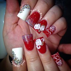 Red valentines nails