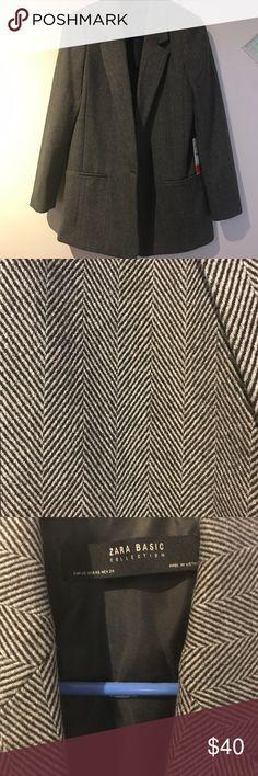 Zara Blazer Zara blazer, dark gray and black. Chevron pattern. Long blazer - goes past hips. New with tags. Zara Jackets & Coats Blazers