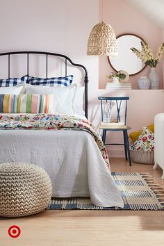 Home Interior Cocina .Home Interior Cocina Dream Rooms, Dream Bedroom, Home Decor Bedroom, Girls Bedroom, Master Bedroom, Bedroom Ideas, Black Headboard, Blue Throw Pillows, My New Room
