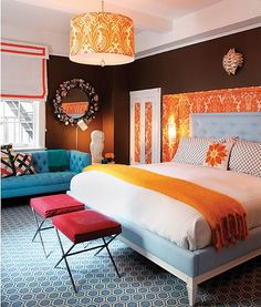 Bright colored bedroom