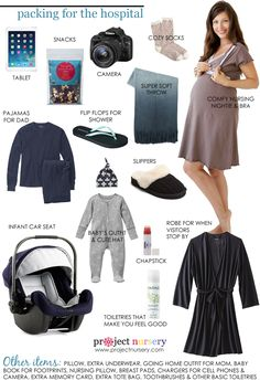 Here is our list of must-haves for your hospital bag come delivery day in a handy graphic. We've filled it with both the necessities and the niceties. ADD baby book for hand and foot prints Baby On The Way, Our Baby, Baby Boy, Carters Baby, Baby Girls, Getting Ready For Baby, Preparing For Baby, Baby Planning, Before Baby