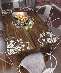 Uma ótima idéia, renovar móveis usando estêncil.Estêncil é um molde, e encontramos de vários modelos. Florais, mandalas, geométricos.E é bem fácil de fazer. Basta fixar com fita crepe no lugar desej