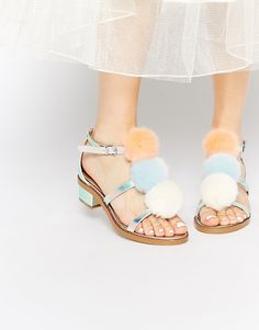 Image 1 of ASOS FLEMMING Pom Pom Sandals