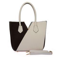 Fashion V-Shape Patchwork Shoulder Handbags -Size:L36.5*W12.5*H29cm -Color:White, Red, Blue, Black and Beige-Material:PU-Hasp closure-Double handle grabs -One z
