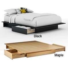 @Overstock.com - Contemporary Storage Platform Bed - This sleek storage platform bed features a rich, dark chocolate finish and two large storage drawers on each side. Straight lines and contemporary styling help this bed blend right into any decor.  http://www.overstock.com/Home-Garden/Contemporary-Storage-Platform-Bed/5109797/product.html?CID=214117 $220.99