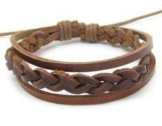Jewelry bangle leather bracelet woven bracelet men bracelet women bracelet made of brown leather woven wrist bracelet SH-2486