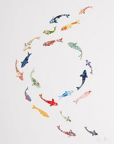 Koi carp circle collage by Eloise Hall notonthehighstreet.com