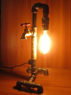 Iron Pipe Table Desk Lamp Light Retro Industrial Style Edison Light Bulb