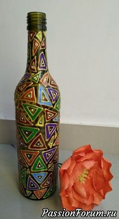 "Bottle art - Bottle art ""Bottle art You are in the right place about trends moodboard Here we offer you the - Painted Glass Bottles, Glass Bottle Crafts, Wine Bottle Art, Diy Bottle, Mosaic Bottles, Empty Bottles, Glass Painting Designs, Pottery Painting Designs, Art N Craft"