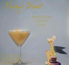 "Disney Inspired Cocktails ""Fairy Dust"" Tinkerbelle Honey Vodka, Triple Sec, Cider Disney Cocktails, Cocktail Disney, Disney Themed Drinks, Disney Alcoholic Drinks, Party Drinks, Cocktail Drinks, Fun Drinks, Yummy Drinks, Cider Cocktails"
