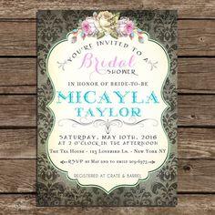 Printable Bridal Shower Invitation - Digital Diy invite - Shabby Chic Roses - Gray Lilac Turquoise Vintage Damask -  no.155