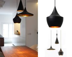 suspension 3 abats jours noir design forme differente en noir mat et doré martelé a l'interieur, style industriel design,