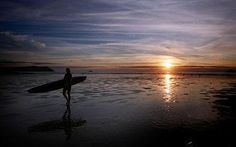 Sunset in Polzeath, Cornwall.