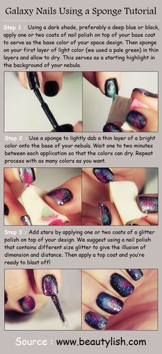 How to Do Galaxy Nails Using a Sponge