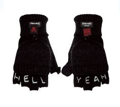 Knuckle Tattoo Convertible Customizable Gloves-Mens Black Thinsulate