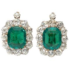 Antique Emerald Diamond Gold Cluster Earrings | From a unique collection of vintage drop earrings at…