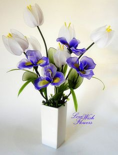 Beautiful purple Iris with white tulip for home by lovewishflowers