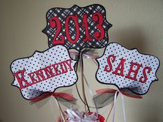 Graduation Centerpiece Custom School Colors by CustomPaperMemories