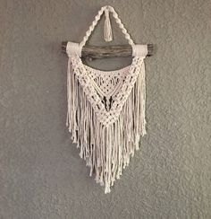 Small Macramé Wall Hanging on Naturally Stained Pine Wood