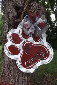 Paw Print door hanger School Spirit door by BluePickleDesigns Burlap Projects, Burlap Crafts, Wooden Crafts, Diy Crafts, Fall Crafts, Wooden Doors, Wooden Signs, Locker Decorations, Burlap Door Hangers