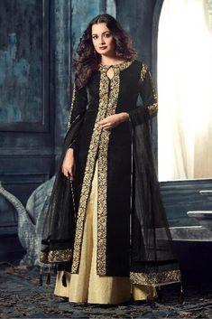 Black lehenga style suit www. Long Choli Lehenga, Black Lehenga, Anarkali Lehenga, Black Abaya, Pakistani Dresses, Indian Dresses, Indian Outfits, Pakistani Suits, Choli Designs