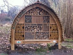 """This is a whopping great, 6 foot tall, """"5 star"""" bee hotel in Paris.    Try building your own bee hotel with our guide http://www.foe.co.uk/what_we_do/bee_cause_make_hotel_action_35992.html"""