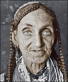 woman (83) of Kalashi, Pakistan  bright blue eyes